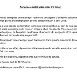 Annonce emploi Saisonier EV - Dinan
