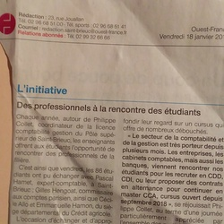 Licence compta St BrieucRencontre avec les professionnels : Ouest France 18/01/2019