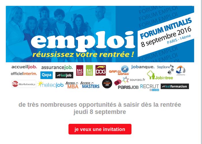 Jeudi 8 Septembre : Forum Initialis à Paris 0