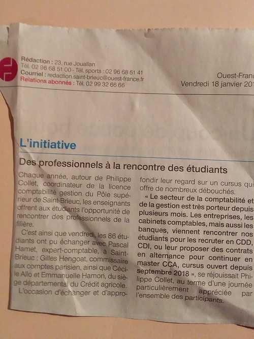 Licence compta St BrieucRencontre avec les professionnels : Ouest France 18/01/2019 0
