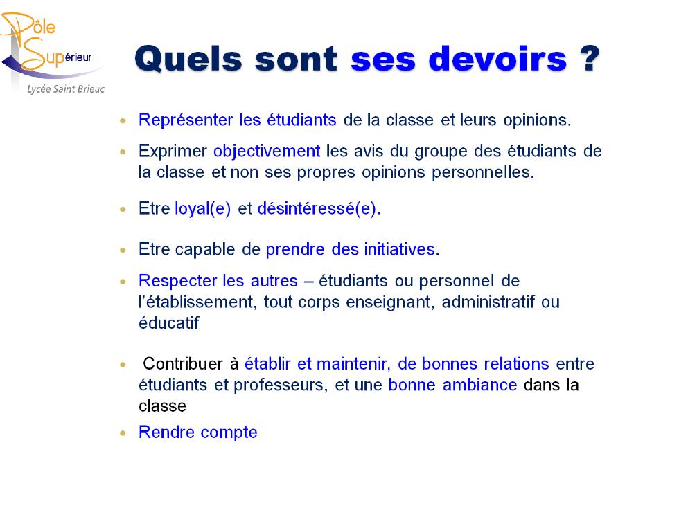 Role Et Devoirs Du Delegue De Classe