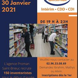 Missions d''intérim pour inventaire - Janvier 2020 - Saint-Brieuc