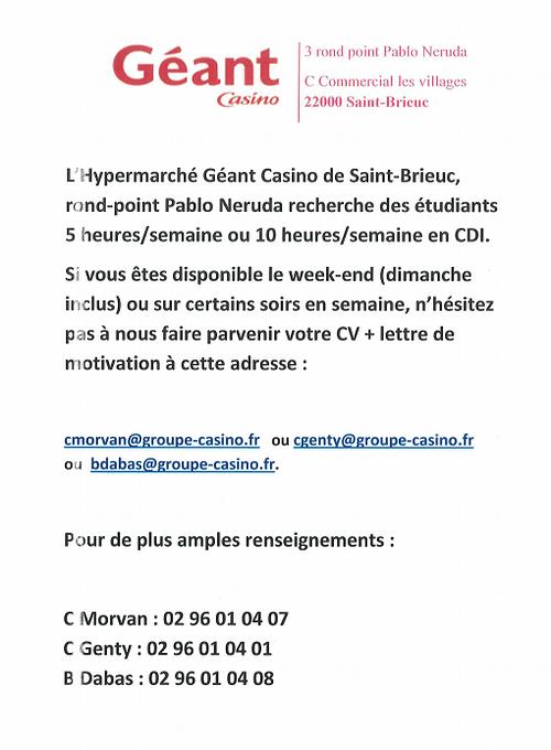 Offre d''emploi étudiants saint brieuc (22000) 0