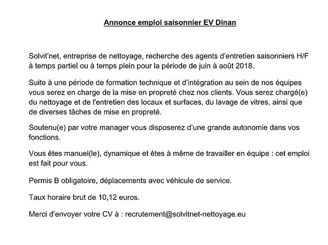 Annonce emploi Saisonier EV - Dinan 0